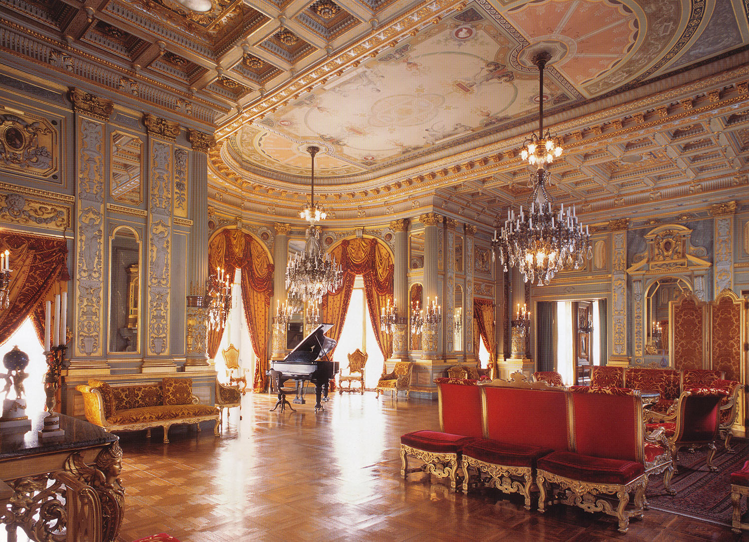 The music room, constructed in Paris by Jules Allard and shipped to Newport, was the scene of recitals and dances.