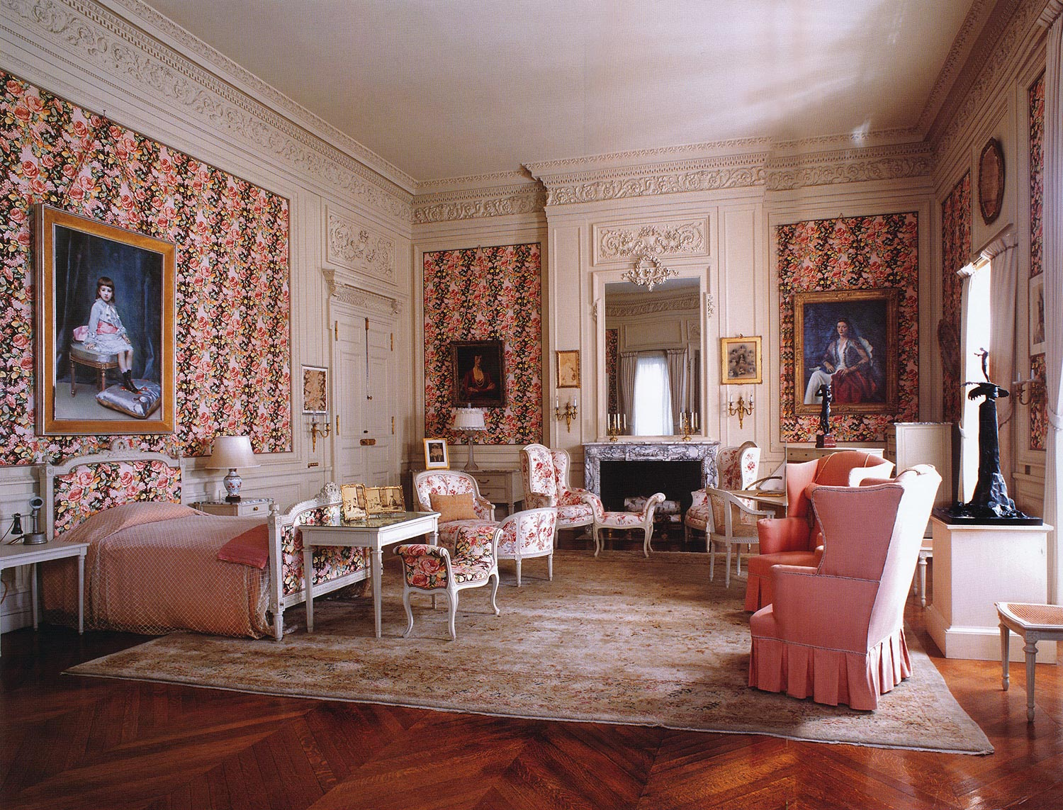 Gertrude Vanderbilt Whitney's room features French furnishings selected by the decorator Ogden Codman and portraits of Mrs. Whitney and her daughter.