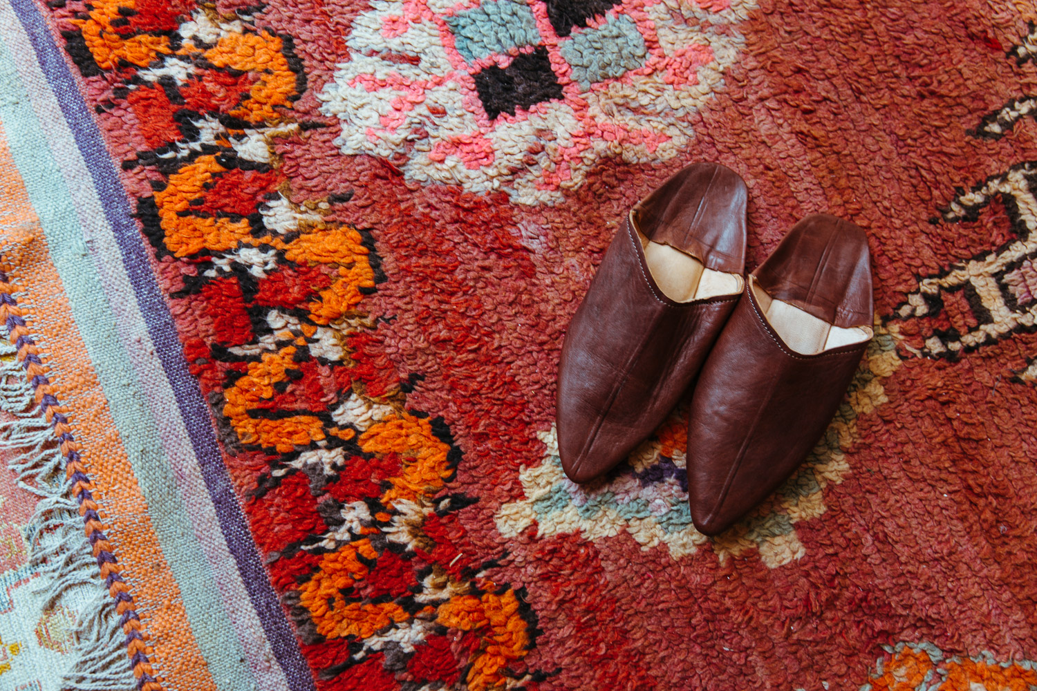 Moroccan leather slippers sourced from Morocco—naturally—by Andy Spade and team.