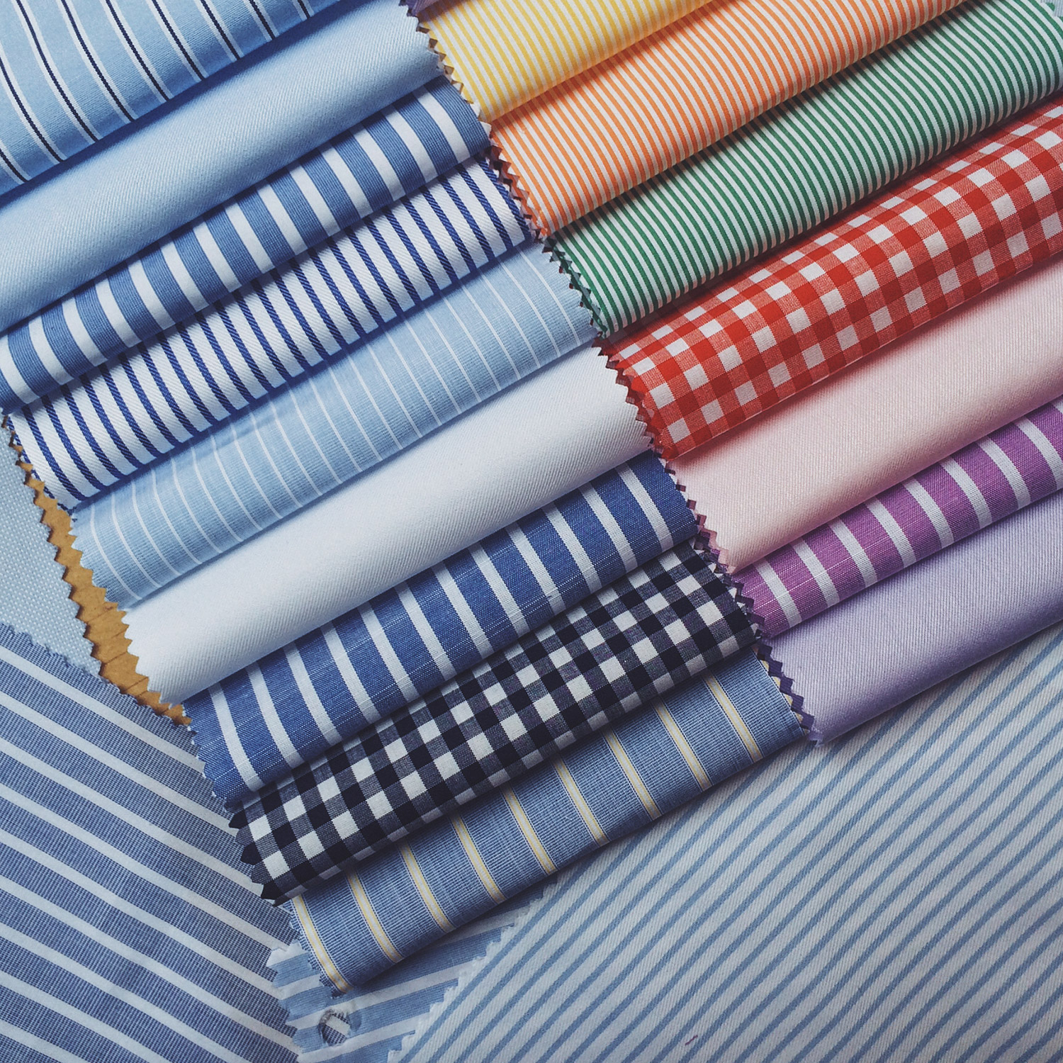 Thomas Mason fabrics hand picked for our made-to-measure shirting collection.