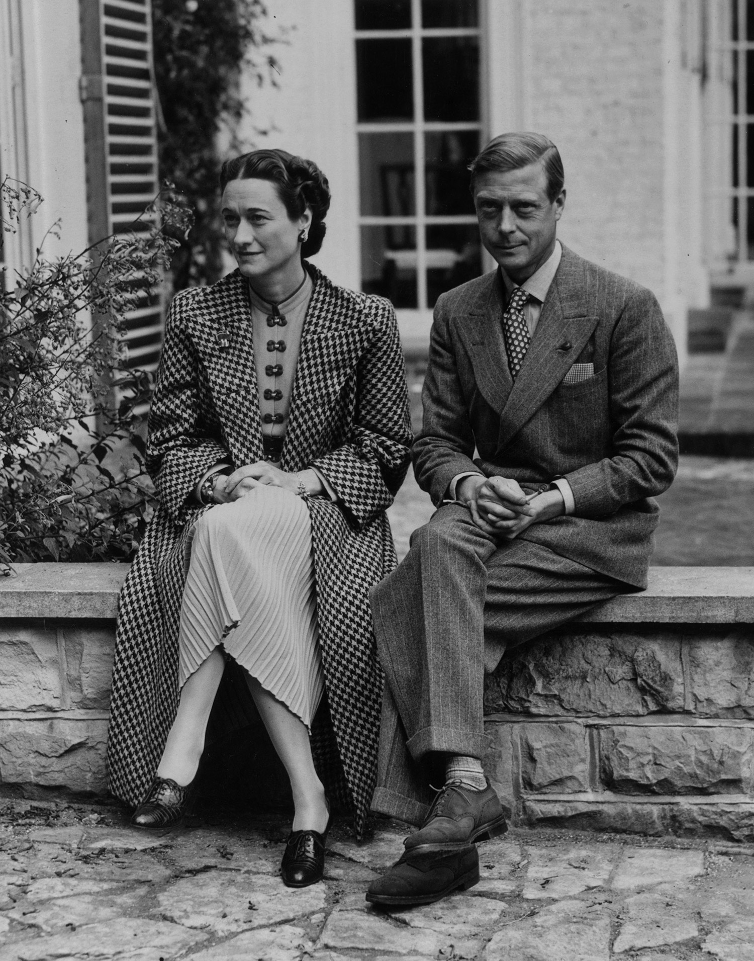 American socialite Wallis Simpson (Duchess of Windsor by marriage) and husband, the Duke of Windsor (the title granted him upon his abdicating the throne in order to marry the woman he loved).