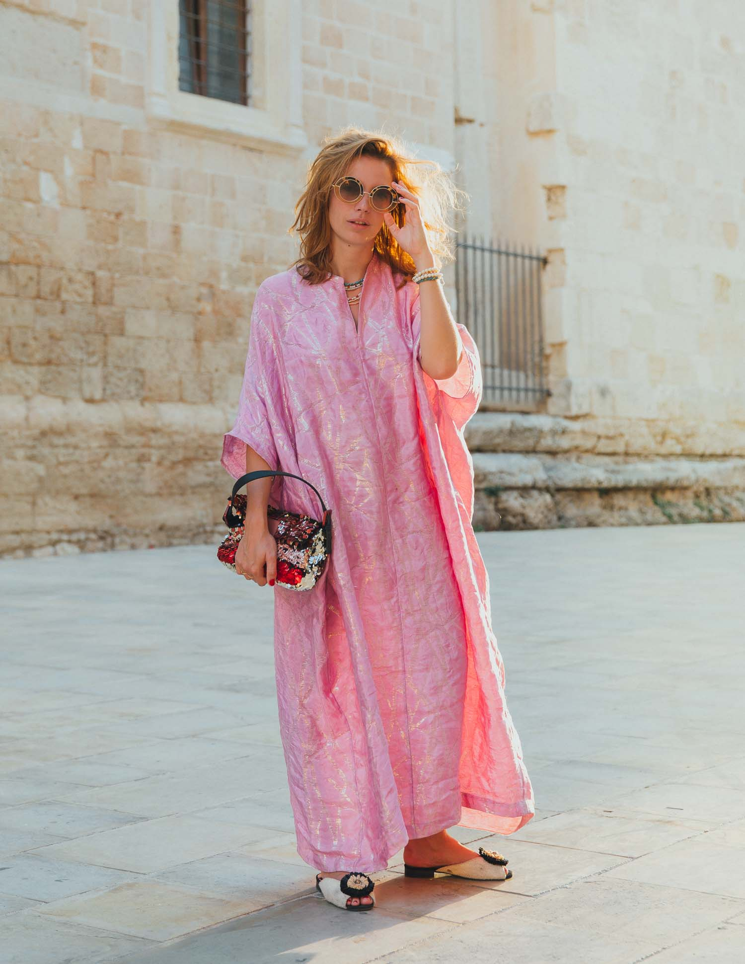 silk kaftan  Hennes & Mauritz  sequin baguette  Fendi  sunglasses   Linda Farrow   hair  uncombed