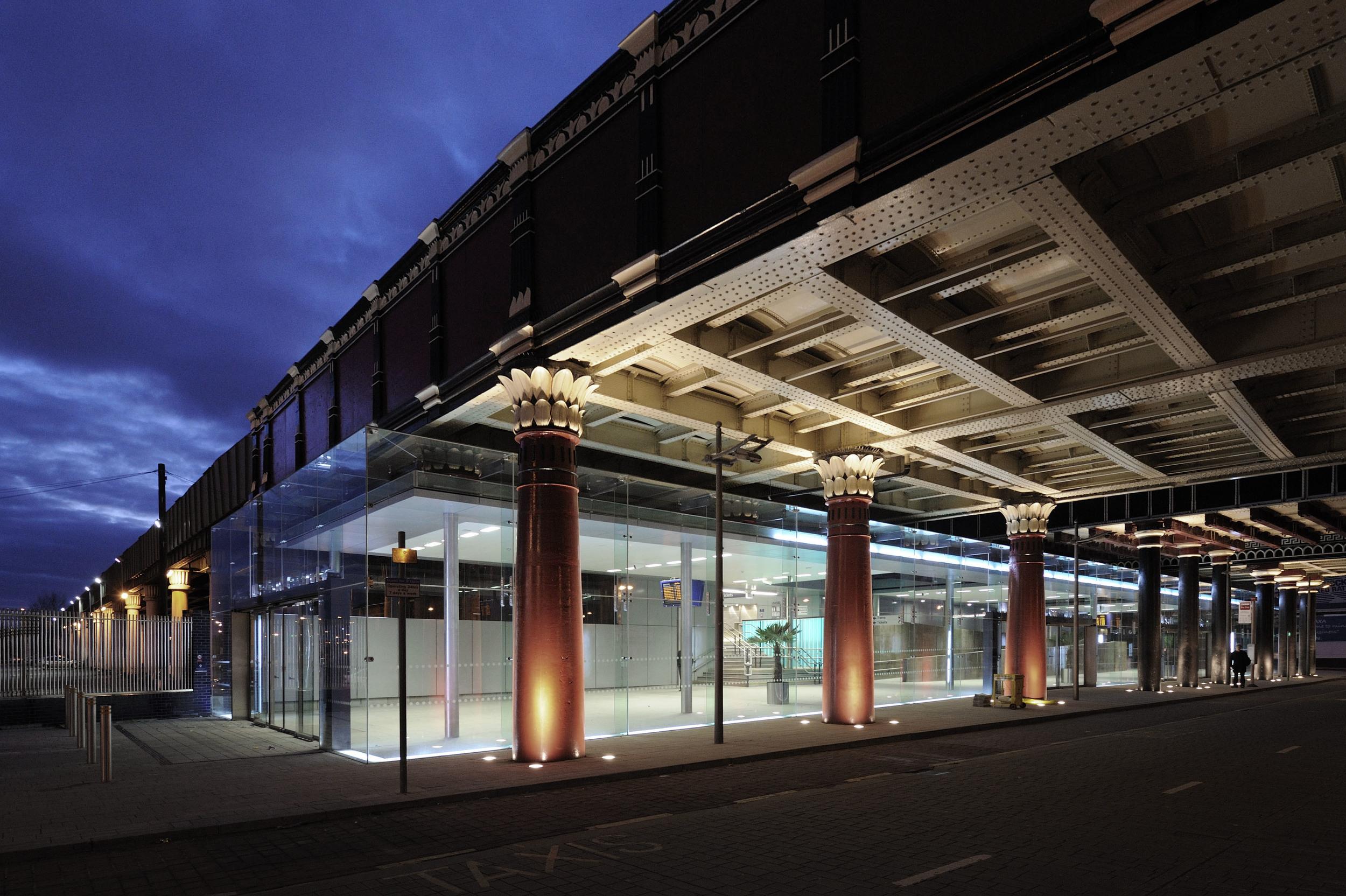 Salford Central Station Bridge at Night