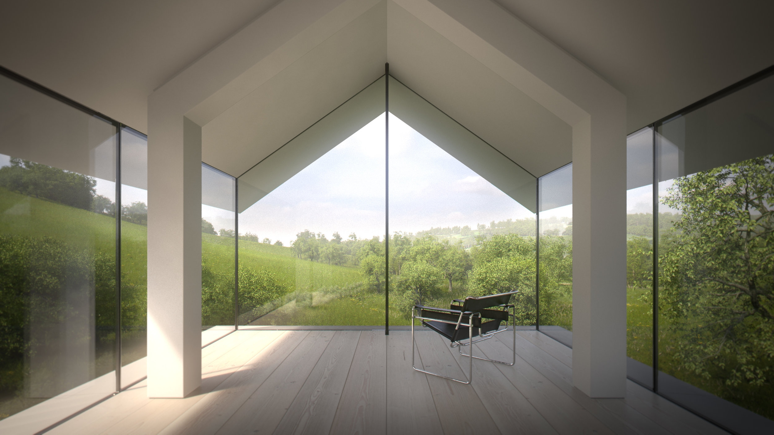 View from Glass Room Overlooking Landscape