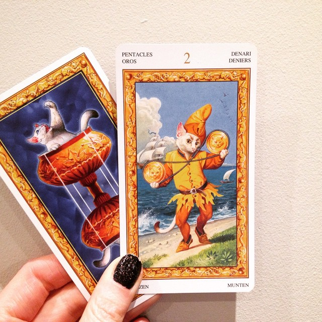 This kitty from the Tarot of White Cats is sick of juggling these pentacles, maybe he should book a reading!