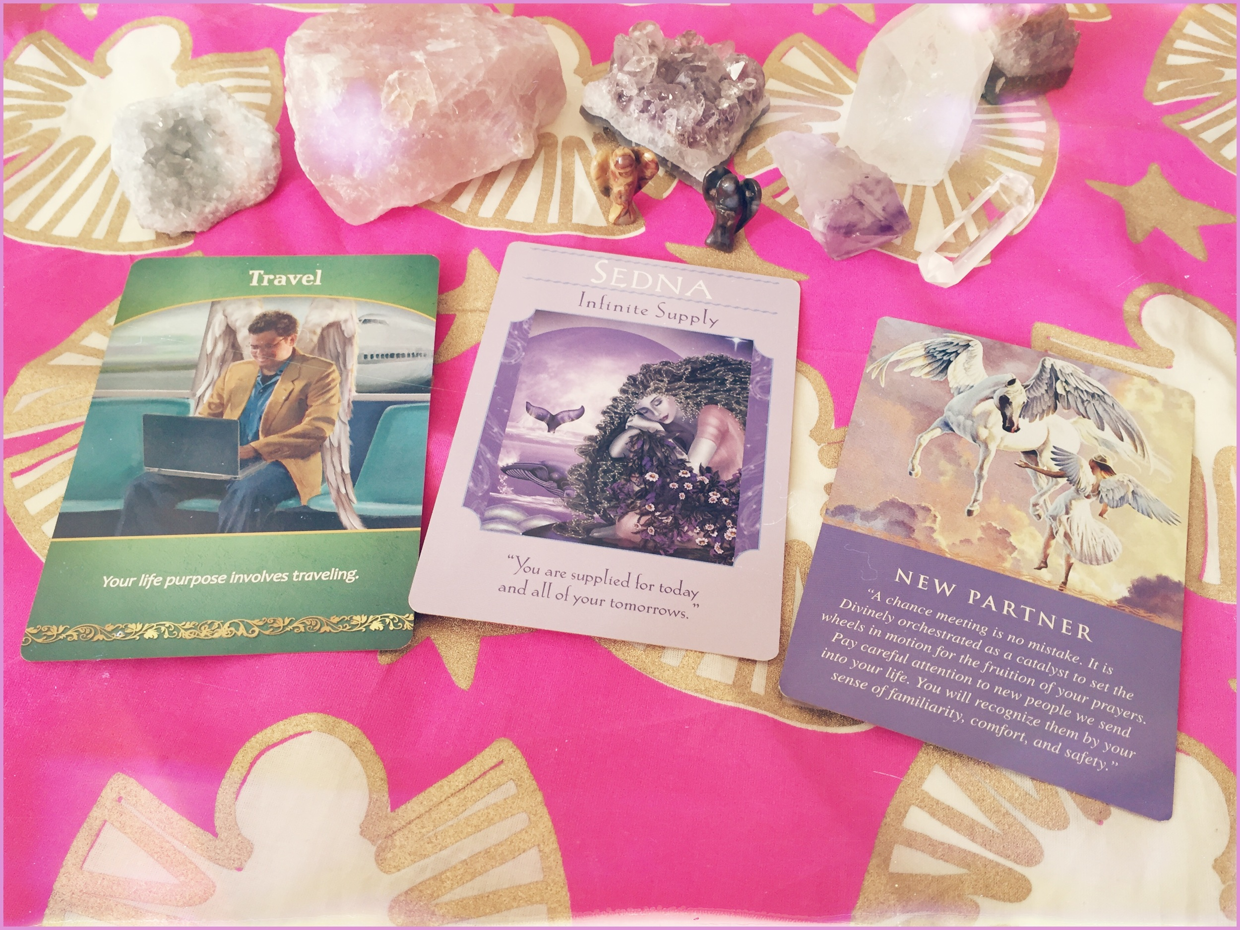 Here's one I made earlier... If you've got like, way too many Angel decks why not mix them up!? (this is Life Purpose Oracle, Goddess Guidance Oracle and Daily Guidance from your Angels all by Doreen Virtue. x