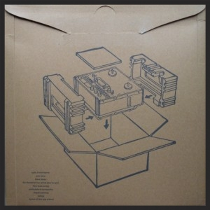 The back cover of the original vinyl issue of Blue Lines depicting the diagram for building an antique vinyl player. Looks like the new Deluxe Box sleeve will have the same design.