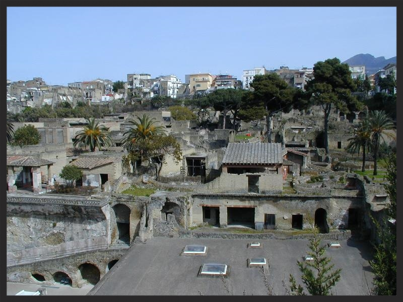 The ruins of Herculaneum today, where the final scene of the movie Gomorra takes place.  Read more about it on Wikipedia.