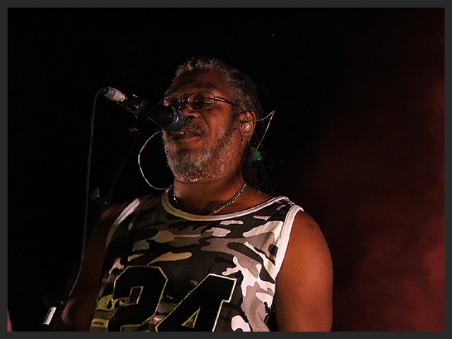 Horace Andy performing Hymn Of The Big Wheel with Massive Attack at the Coachella Festival in April 2006.