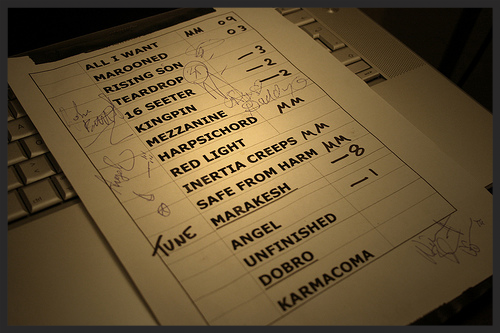 A sample setlist from the 2008 tour detailing the order of the songs, the vocalists for each one and what pedals to use on each song for the live musicians.