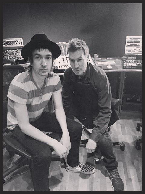 Gorillaz guitarist  Jeff Wootoon  pictured with 3D in Massive Attack's studio in May 2015. Jeff played guitar on Voodoo In My Blood.