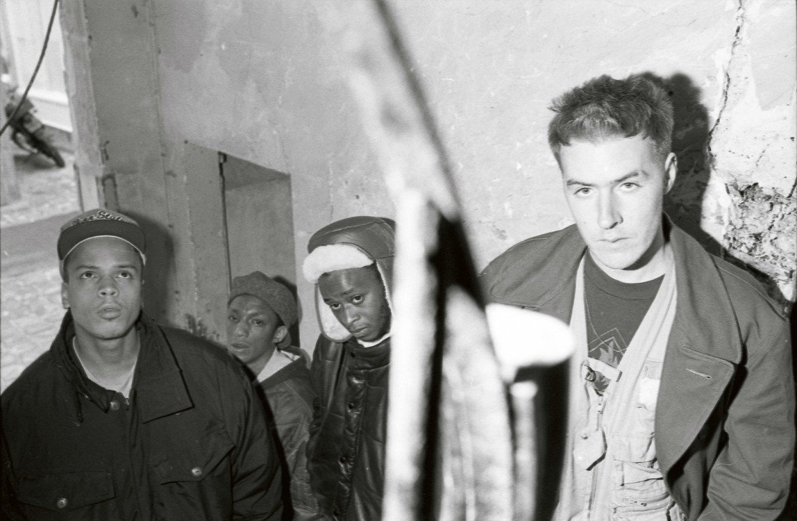 3D, Mushroom and Tricky pictured between filming of the Safe From Harm video in a disused London block of flats in 1991.