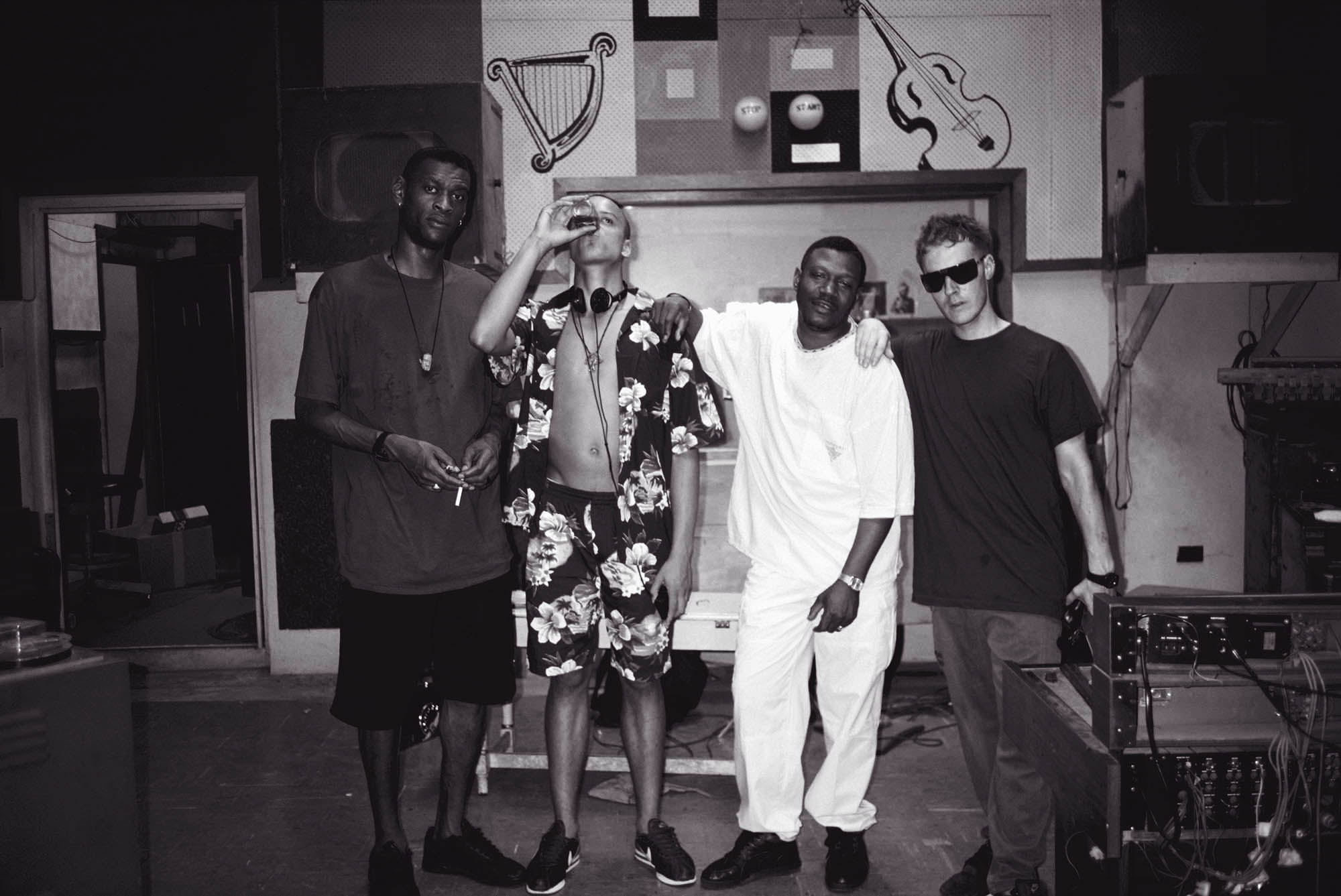 Massive Attack and Horace Andy pictured at the famous Studio One in Jamaica shortly after the release of Blue Lines.