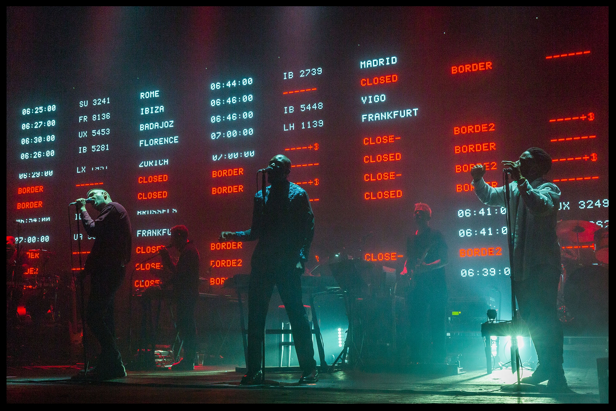 Voodoo In My Blood being performed on 2016 tour. During the performance the LED screen would flash airplane timetables from the nearest airport to each show.