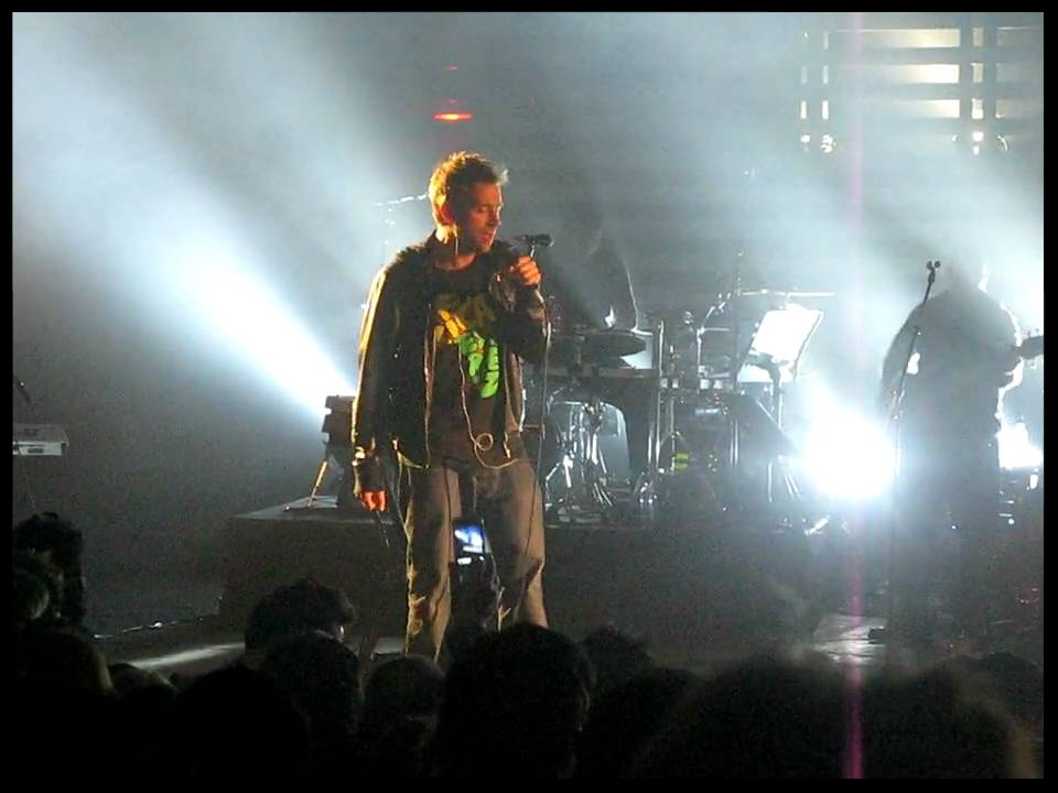 Damon Albarn on stage performing Saturday come Slow with Massive Attack at their show in London's Brixton Academy on the 17th September 2009.  Watch a YouTube clip of this performance here.