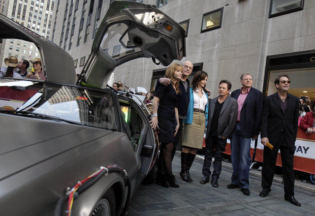 "Cast members of ""Back to the Future"" appear in 2010 on NBC's ""Today"" show in New York, commemorating the 25th anniversary of the hit films. (Associated Press Photo)"