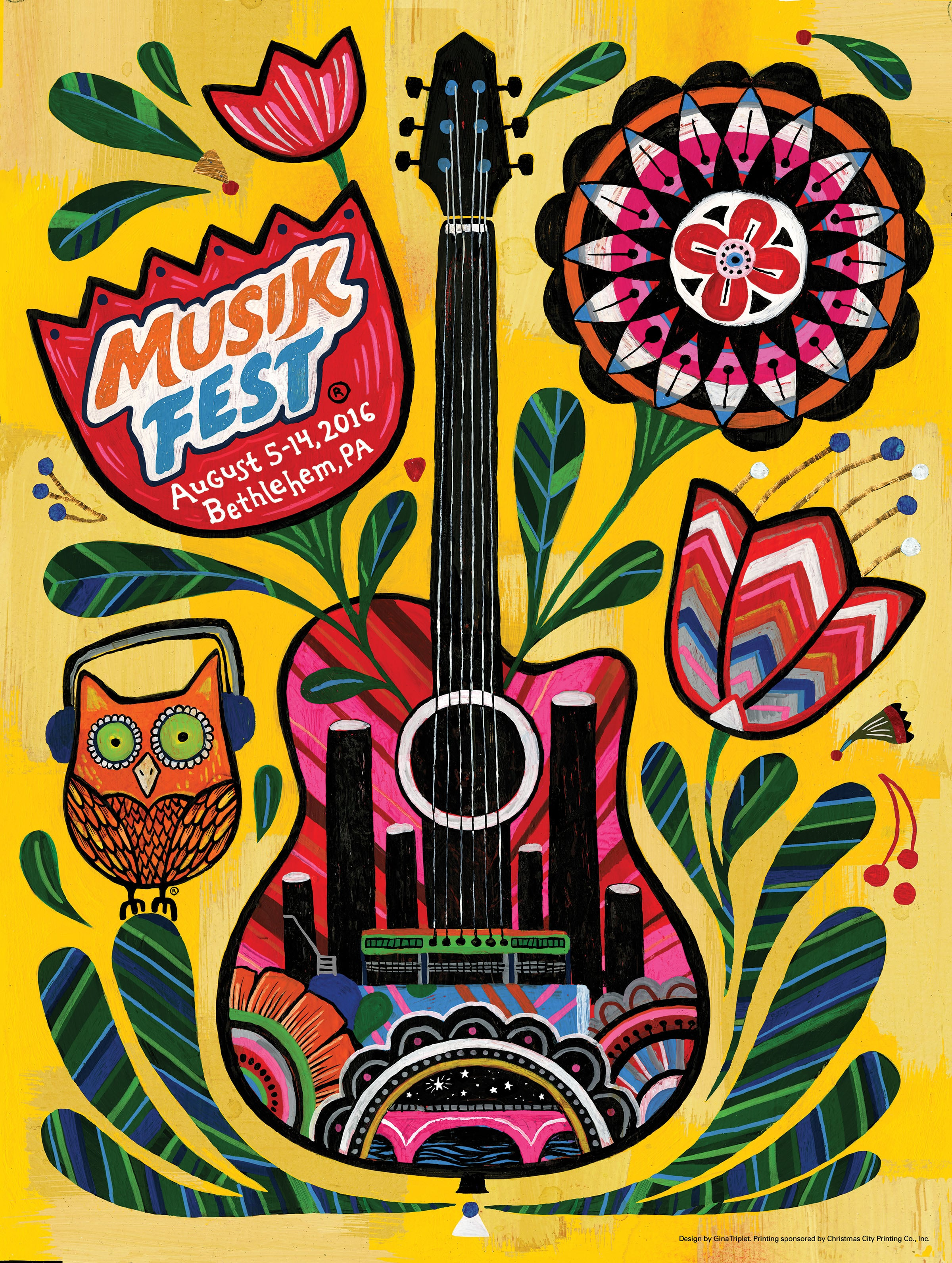 The 2016 Musikfest poster features artwork by Philadelphia-based painter and illustrator Gina Triplett.  (Courtesy Photo)