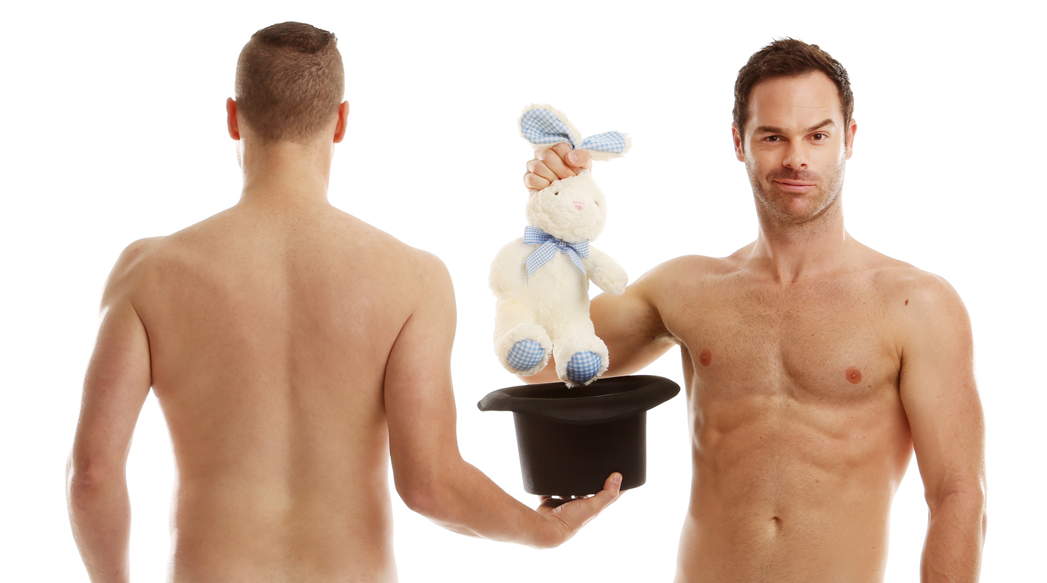 Christopher Wayne, left, and Mike Tyler perform as The Naked Magicians. The duo bring their tour tonight to the State Theatre in Easton.  (Courtesy Photo)