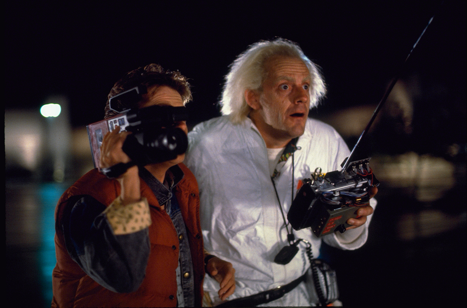 "Actor Christopher Lloyd, right, stars as Emmett ""Doc"" Brown in Universal Pictures' ""Back to the Future.""  (Courtesy Photo 
