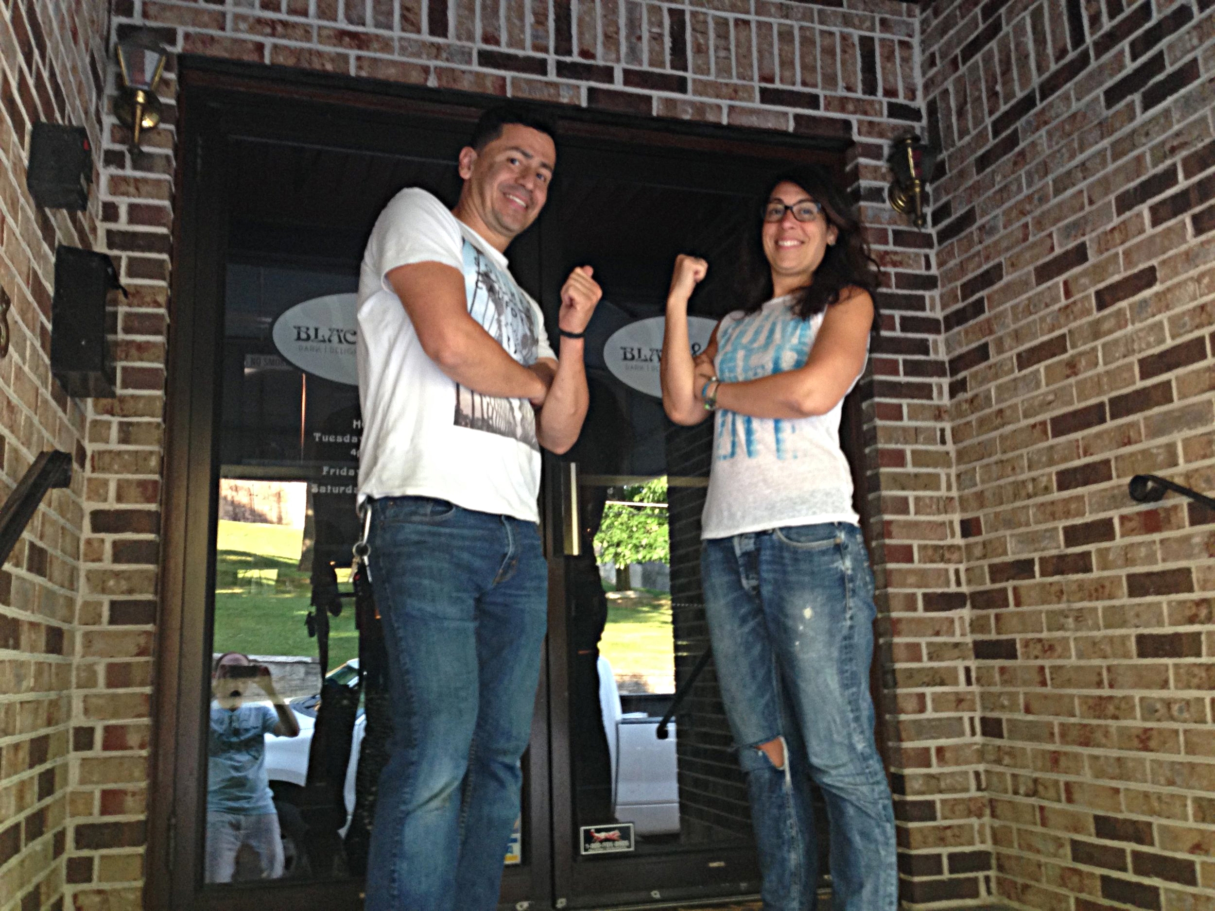 Managers Marcel Bedoya, left, and Tara Perruso are hoping to reopen Easton's Black & Blue in mid-July.  (Dustin Schoof Photo)