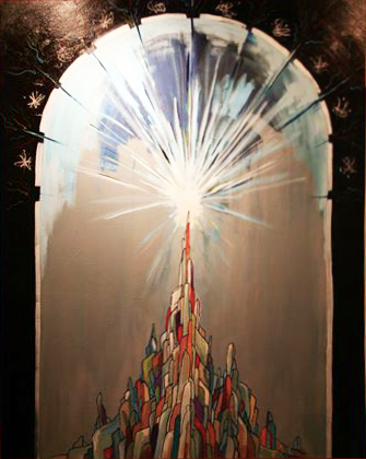 Breaking the Dome of the Heavens  2011  Oil & Paint Marker on Canvas  3' x 5'