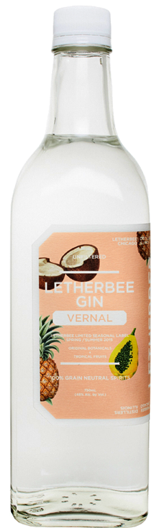 Vernal 2015   This season's recipe variation is uniquely both rambunctious and relaxed. The 2015 VernalGin pays tribute to Paul McGee and all other bartenders who are spearheading the growth of Tiki Culture. Driven primarily by the tropical and savory profiles of papaya, pineapple, and toasted coconut, this gin exudes a lush bouquet of vanilla, pink peppercorn, and peeled rambutan. Its confident mid-palate unfolds a succulent blend of ripe persimmon and sunchoke, suspended by the recognizable Letherbee gin botanicals with a mouthfeel that blooms into a long, silky malolactic finish.