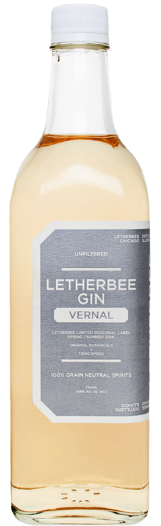 Vernal 2014   Letherbee's 2014 Vernal Gin redoubles the iconic G&T by macerating traditional tonic botanicals alongside their signature recipe. The first thing you notice is a subtle pink hue — this comes from red cinchona bark, which also lends a hint of bitterness. The palate is balanced with lemongrass and citrus peel, while traces of ginger and allspice echo in the background. This refreshing seasonal is just as versatile as Letherbee's flagship: sip it neat or with ice, serve it up in a gimlet or martini, or add soda water, sweetener, and lime for a next-level gin and tonic. Note that the pink hue will turn yellow with the addition of citrus juice or anything acidic.