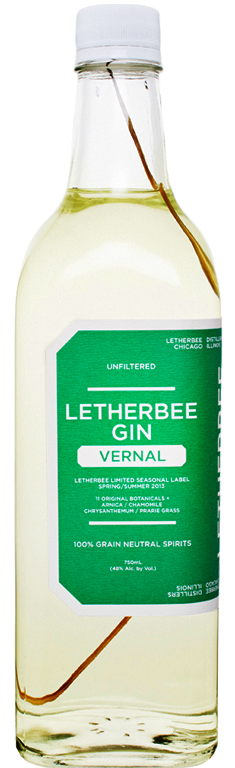 Vernal 2013   Just as Letherbee Distillers concocted a limited-run Autumnal Gin in the waning months of 2012, the Chicago crew now honors Spring with a similarly rare Vernal Gin. It's fresh, fragrant, and softly layered — upfront notes of chrysanthemum flower resonate amidst hints of chamomile, arnica flower, and jasmine. And while juniper and coriander remain at its backbone, the Vernal sipper plays with the basic concept of gin. Within each 96-proof bottle, a sprig of buffalo grass soaks in the un-chill filtered spirit, adding a touch of vanillin sweetness and a subtle green hue.