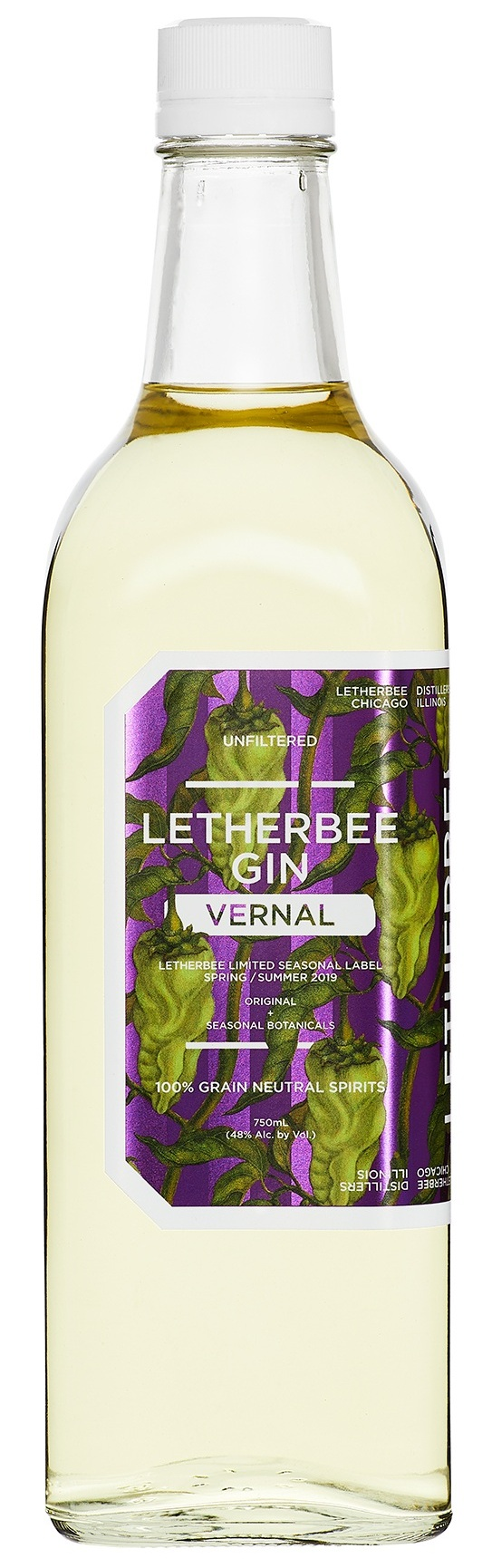 VERNAL GIN 2019   In the wake of Winter, we're all looking for a little heat. What better way to usher in Spring than to saddle up with some green chiles – savory, bold, and warm flavors emblematic of Mexico and the USA's Southwest. Fresh poblanos and green bell peppers bring a vegetal and grassy palate to our 2019 Vernal. Simple and straightforward, this recipe features a pared-down botanical distillate of juniper, coriander, and lemon peel with nearly a ton of poblano and green bells. Juicy and bright in body, it delivers a subtly spicy finish from our jalapeno and green hatch chile maceration.