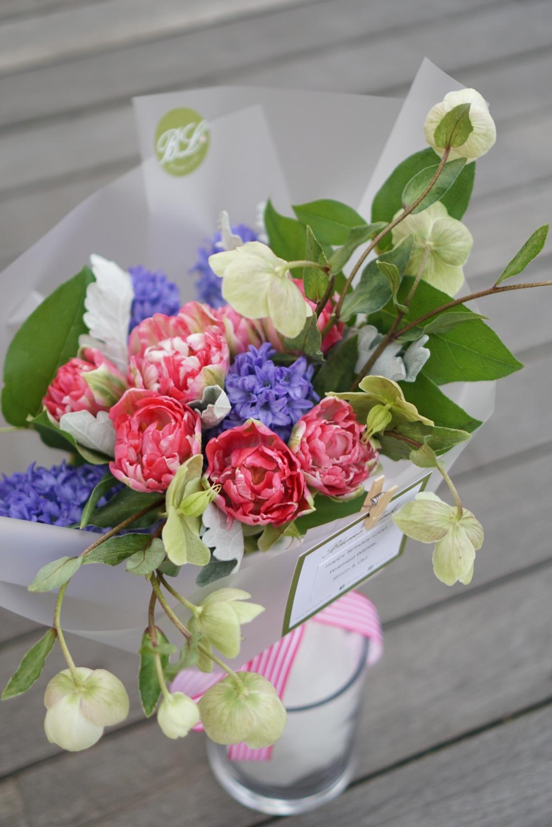 Double petal tulips & hyacint bouquet.JPG