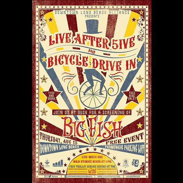 Summer and Music's Bicycle Drive In returns as part of Live After 5, TONIGHT!! Don't miss this special evening filled with live music from the magical Matt Costa, tall tales presented by Garage Theater, delicious eats/drinks from area establishments and of course, BIG FISH on the big screen, all presented by DLBA. Ride our bike and Pedal Movement will park & keep it company while you enjoy the event, for FREE!