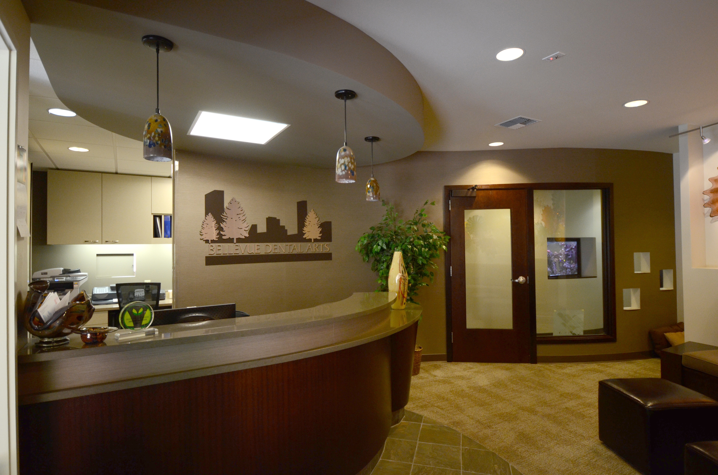 Bellevue Dental Arts waiting room and front desk