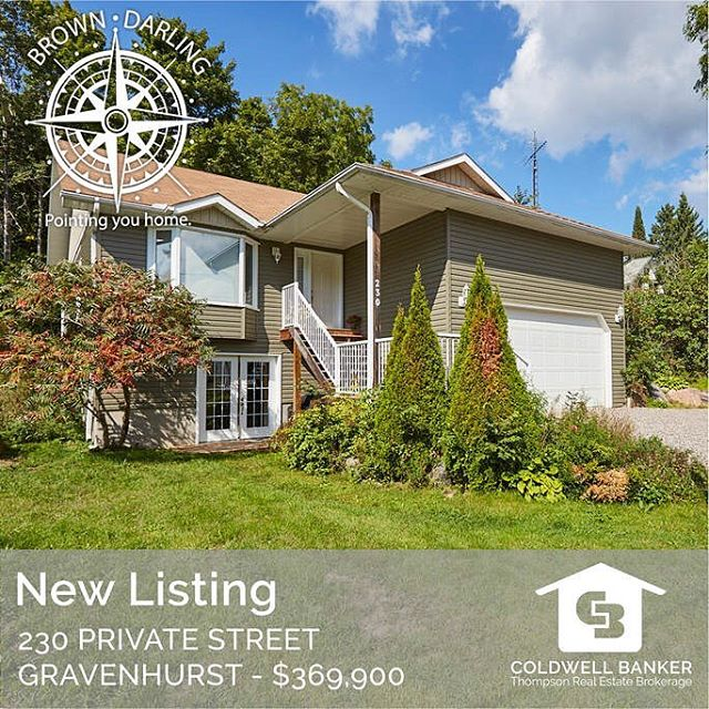 NEW LISTING 230 Private Street Gravenhurst $379,900 Fantastic opportunity in a great area walking distance to the waterfront, beach, tennis courts, park and the iconic Gravenhurst Wharf. This home shows like new and offers ample living spaces with 3 bedrooms and 2 bathrooms on the main floor with the benefit of a fully-independent in-law suite in the lower level with a walkout offering another family room with a gas fireplace, bathroom, bonus room, full second kitchen and ample storage space. The bright, spacious living room, dining room and kitchen offer an open-concept floor plan with tons of cabinetry, hardwood floors and many upgrades throughout. . The private backyard is accessed by a large deck off the kitchen and extends your three-season living space into a quiet, treed oasis. An oversized attached garage with overhead storage completes this package on a quiet street that can easily be converted back to a single-family home with over 2300 square feet of living space. http://www.muskokarealestatenorth.com/our-current-listings/ . . . . #MuskokaRealEstate #MuskokaLife #ColdwellBanker #Muskoka #JustListed #NorthMuskoka #MuskokaListings #PointingHome #JessicaAndVictoria #HuntsvilleOntario #FamilyHome #CottageLife