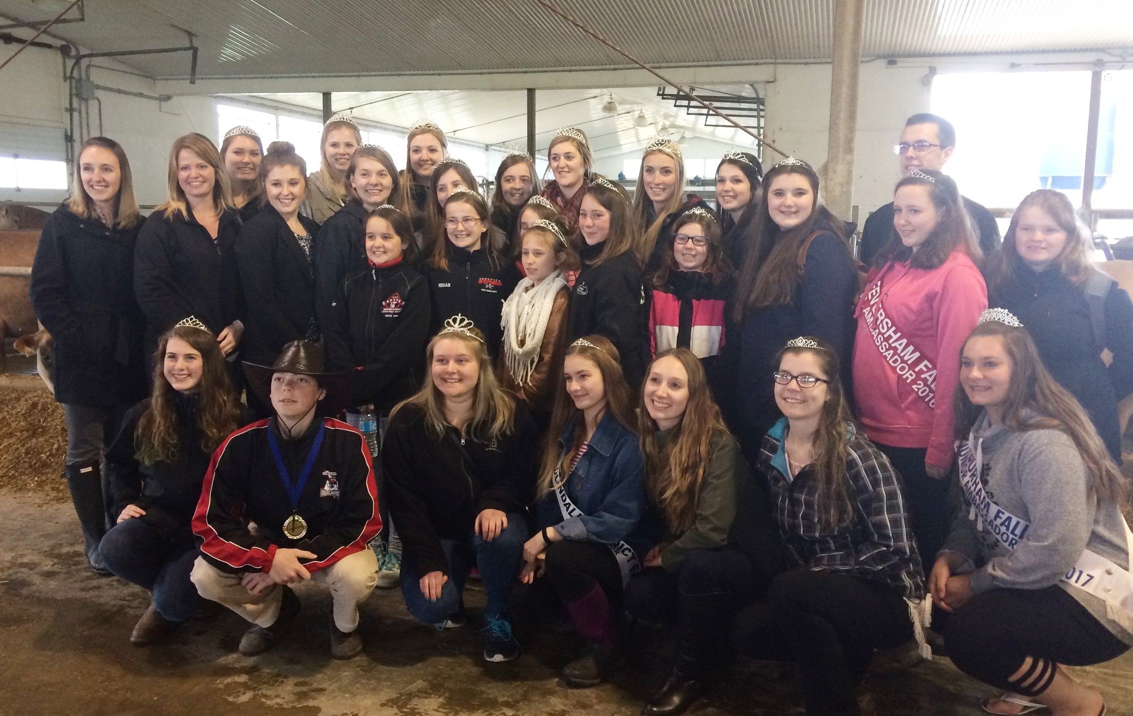 2016 District 10 Ambassadors visiting Miller's Dairy during the OAAS Spring Meeting hosted by the Dundalk Ag. Society
