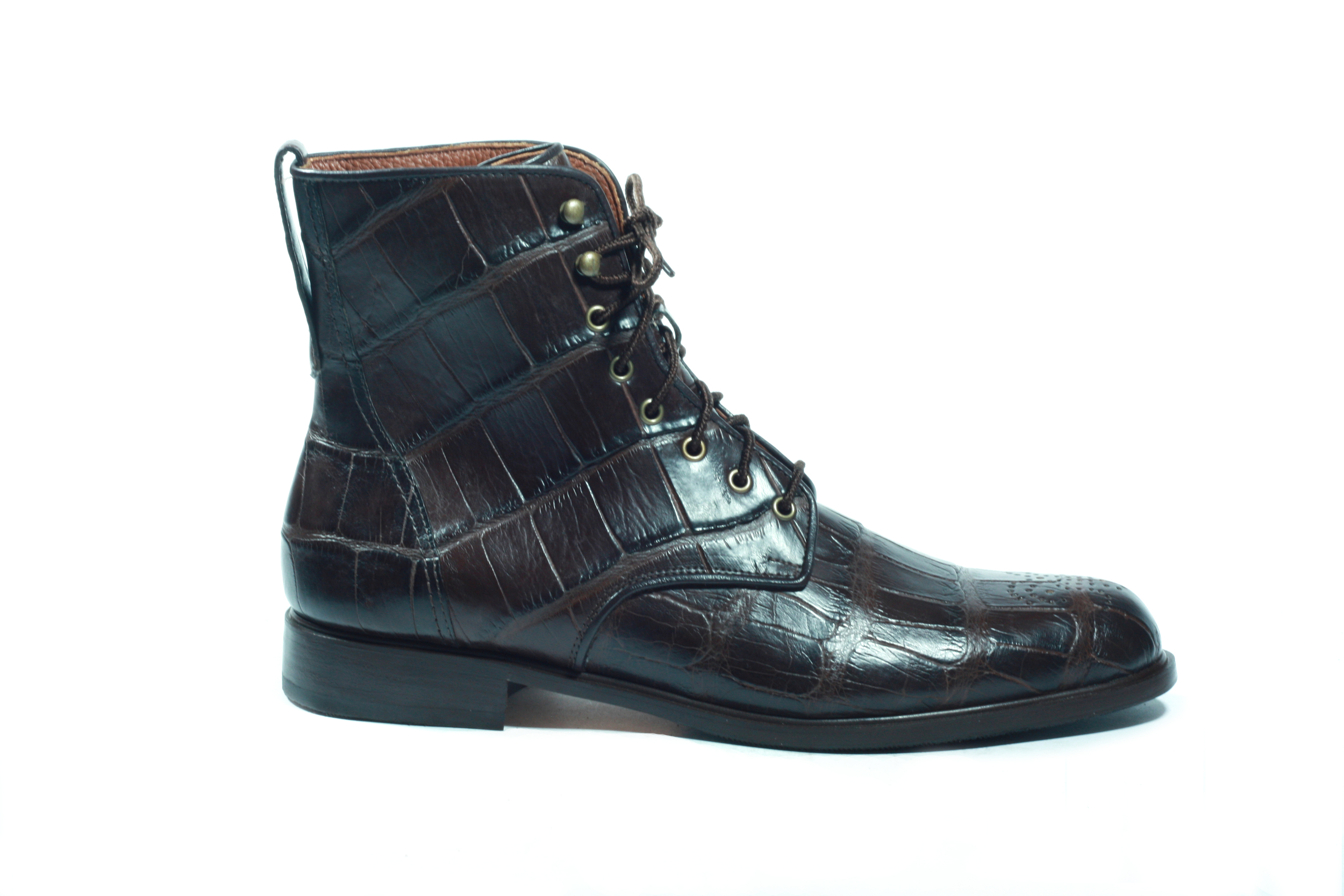 Brown Alligator lace-up boot