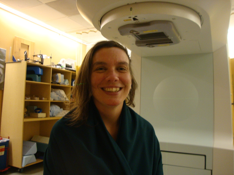 Rebecca in the basement of UCSF after receiving her first radiation treatment.