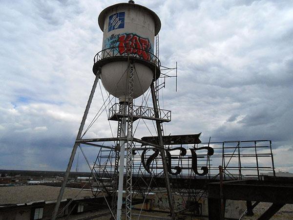 Water tank at former Interbake Building at 900 Terminal Place.