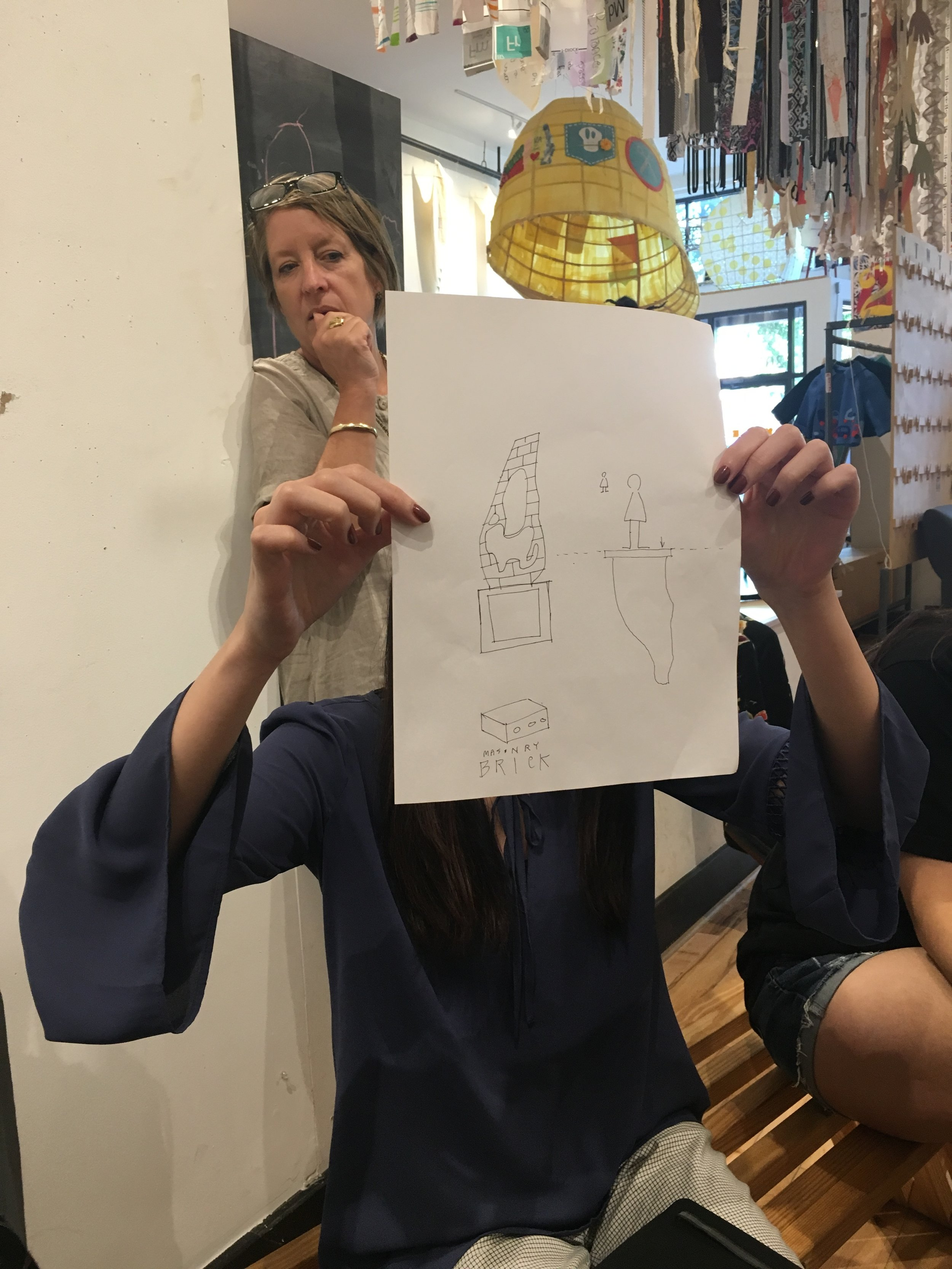 Shown below, undergraduate mOb students are working on sketches of monuments that they would like to see in Richmond. What might you make a monument to in this city?