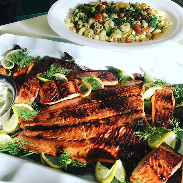 What are you having for lunch? Broiled Mahogany Salmon. Dijon Pasta Salad. #chefsalorange #gourmetcatering #salmon #broiledsalmon #pastasalad #gardenfresh #catering #cateredlunch #boardmeeting #newhaven #workinglunch #yaleuniversity #yalelawschool #yalenewhavenhospital #yale #longwharftheatre