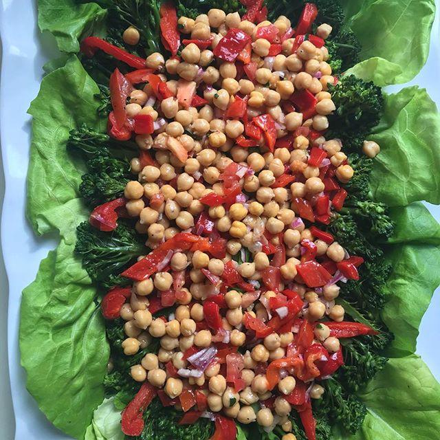 Vegan Broccolini & Chick Peas Vinaigrette #vegan #protein #foodporn #sherry #fitnessfood #gourmetcatering #chefs