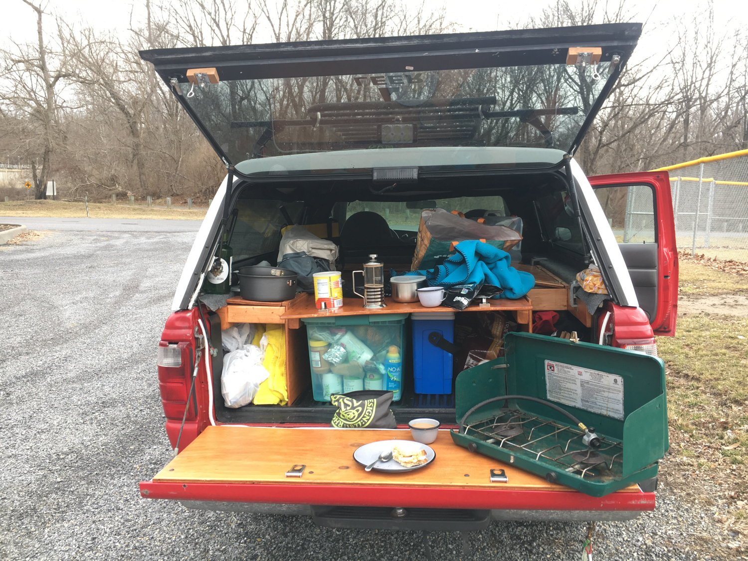 Radford, VA • This is what making breakfast in a truck looks like, still working out the kinks and giving myself bruises.