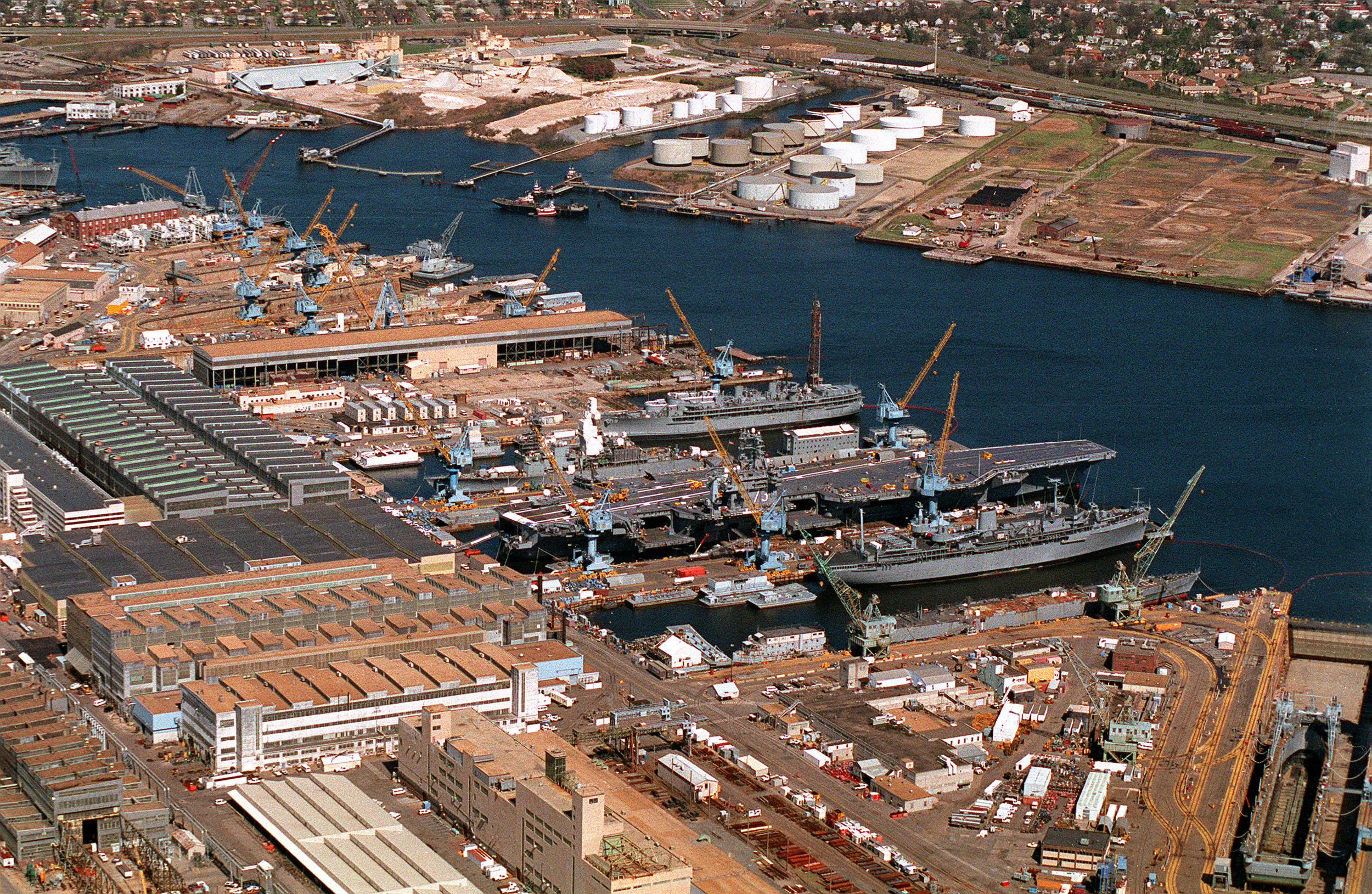National Archives Identifier: 6490853 Aerial view of the Norfolk Naval Shipyard on the Elizabeth River