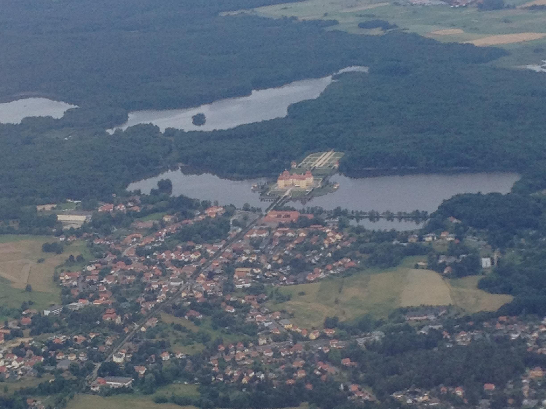 An aerial view of Schloss Moritzburg