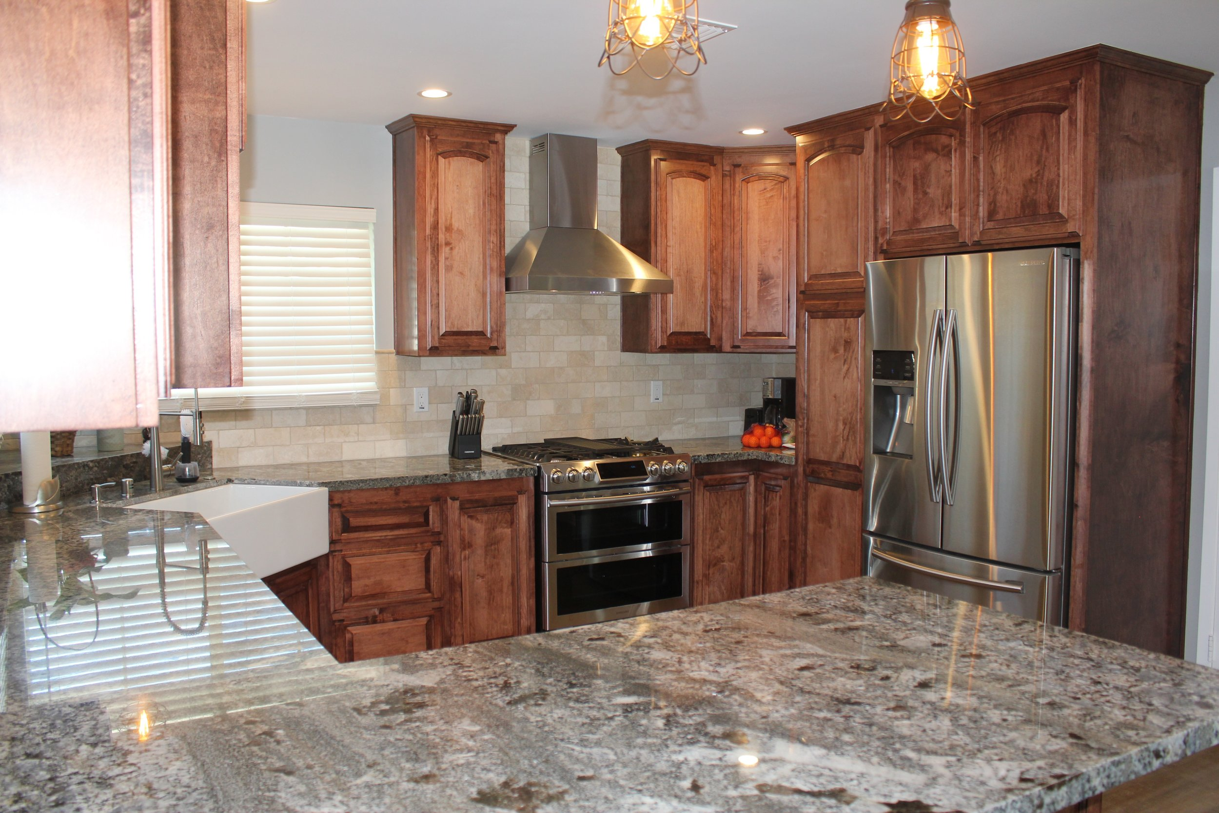 Granite counter tops and tile backsplash.