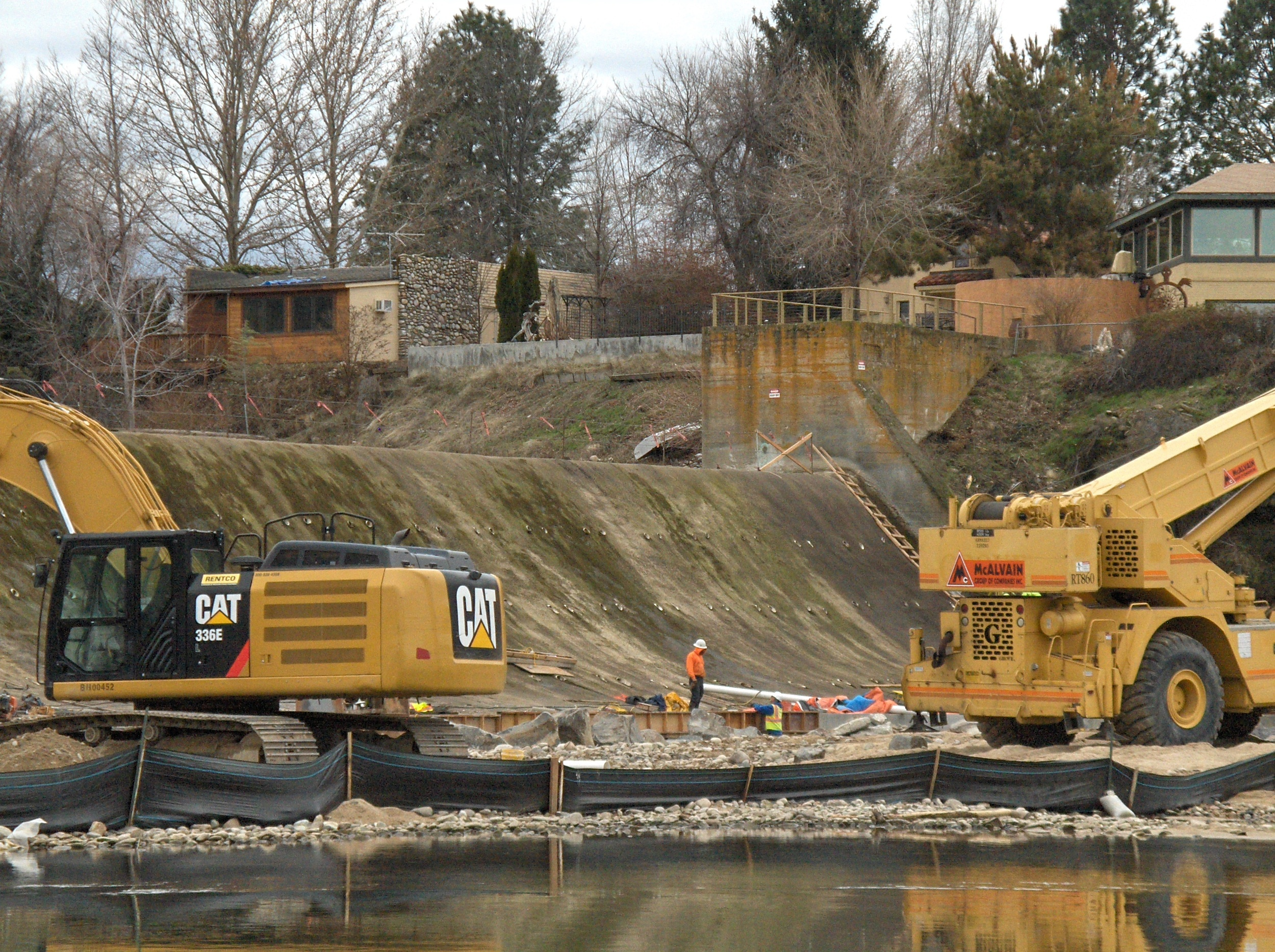 Barber Dam on the Boise River is undergoing repairs, which in part contributed to the complete dewatering of the Boise River Feb. 4. (Photo by Liz Paul)