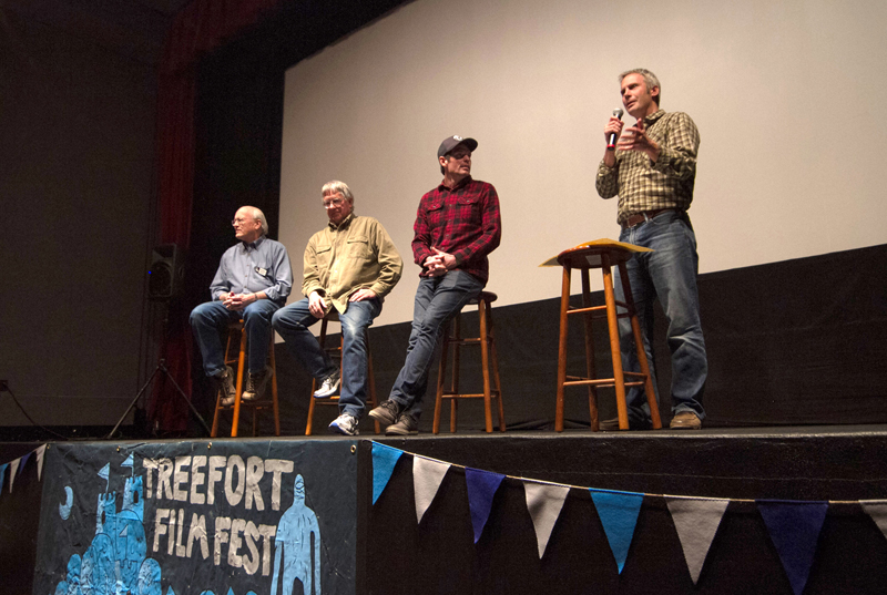 From left to right, IRU board member Tom Stuart, Boise salmon advocate Reed Burkholder, DamNation co-director and editor Ben Knight and IRU's Greg Stahl discuss dams and what they mean for Idaho's endangered salmon following the film's screening on March 23. Photo by Cody Gittings.