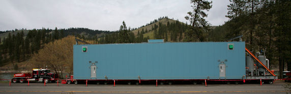 Imperial Oil's big blue test module was designed to help determine the navigability of rural Idaho and Montana roads between the Port of Lewiston and the Canadian border. Trucked from the Port of Lewiston to Lolo Pass on the Montana-Idaho border in May 2011 the shipment pulled down power lines and knocked out power to customers along the Clearwater River. (Photo by Kevin Lewis)
