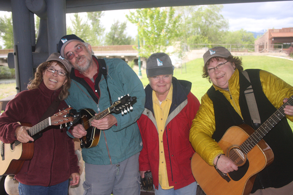 The band Eddy Up sports new Idaho Rivers United hats at a mid-June barbecue in Salmon, Idaho.