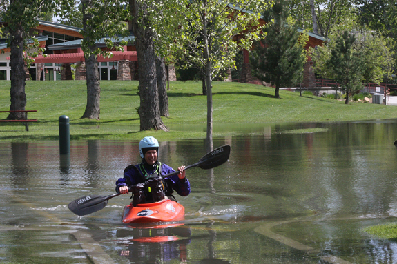 For about a month the Boise River has been cresting its banks and flooding low-lying riparian areas, including places like the parking lot at Barber Park. It's important to remember that, while inconvenient, high flows are extremely good for river health. (Photo by Greg Stahl)