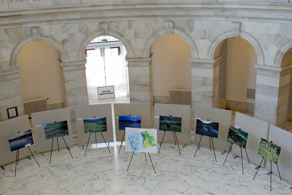The rotunda of the Russell Senate Office Building boasts photos of central Idaho's abundant salmon habitat this week, June 13 - 17. (Photo courtesy Sen. Mike Crapo's office)